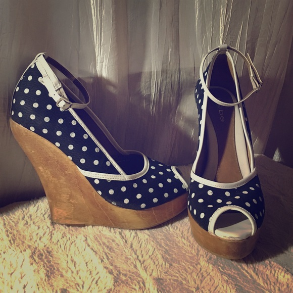 6d5957d31a0f bebe Shoes - Bebe Black   White Polka Dot Wood Wedges