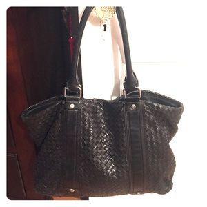 Black woven leather shoulder bag