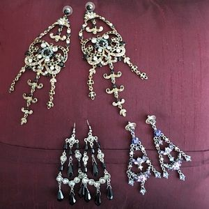 Jewelry - Lot of 3 pairs of gorgeous chandelier earrings