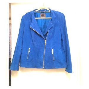 Electric blue suede Moto jacket