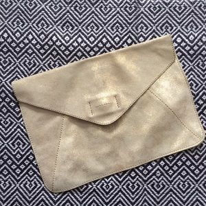 Gap Leather Envelope Clutch - gold