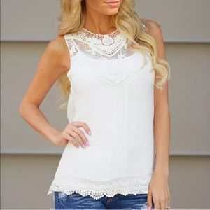 Tops - White Cotton Lace Tank Tunic, Perfect