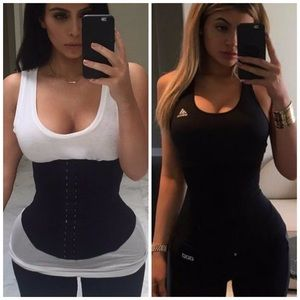 • Black latex waist trainers •