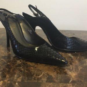 Shoes - Black snake print sling back