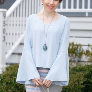 Tops - Pastel blue flare sleeve top