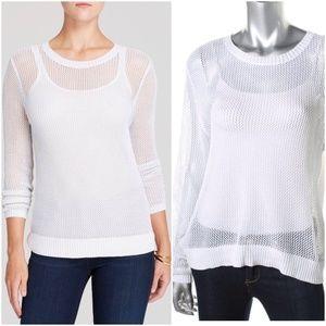 moon & meadow Sweaters - MOON & MEADOW White/Silver Metallic Open Knit Top