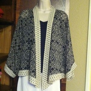 Black and cream kimono style jacket