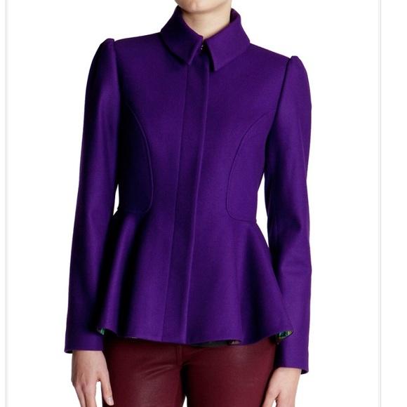246f2746d Ted Baker Purple Peplum Coat Jacket. M 572d51144127d0bc1f01265b