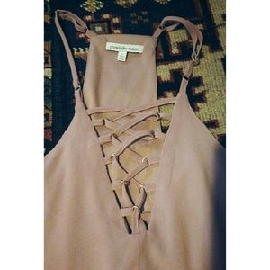 Silky Baby Pink Lace Up Dress