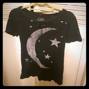 Chaser destressed tee with moon graphic