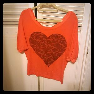 Brokedown off the shoulder lace heart sweater
