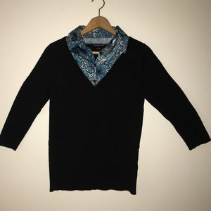 august silk Sweaters - August Silk med black sweater blue floral collar