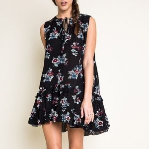 Trapeze Floral Sleeveless Dress