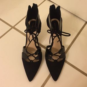 Zara black lace up pumps