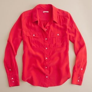 J. Crew Tops - {free people} red Blythe silk blouse