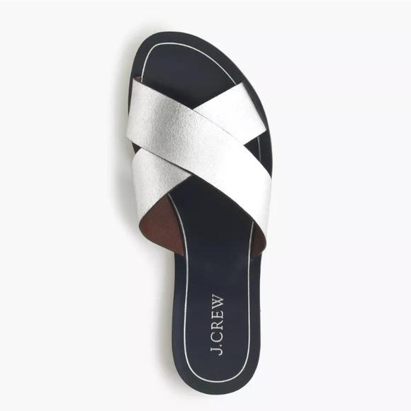 a72d98b55 J. Crew Shoes - 🌸🍾Trendy J. Crew Cyprus Silver Metallic Sandals
