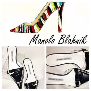 Manolo Blahnik Shoes - Manolo Blahnik black and white kitten heel mules.