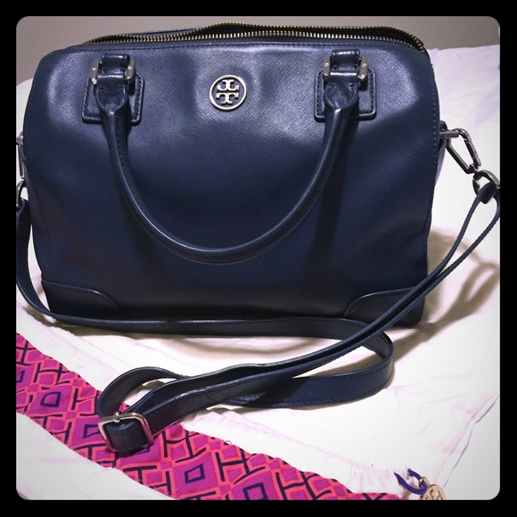 f1aedae882bd Tory Burch Robinson Middy Satchel - Night Sky