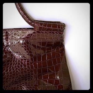  Wine Colored Faux Crocodile Handbag