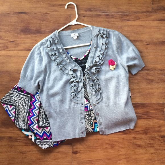 78% off ModCloth Sweaters - Light gray short sleeve ruffle ...