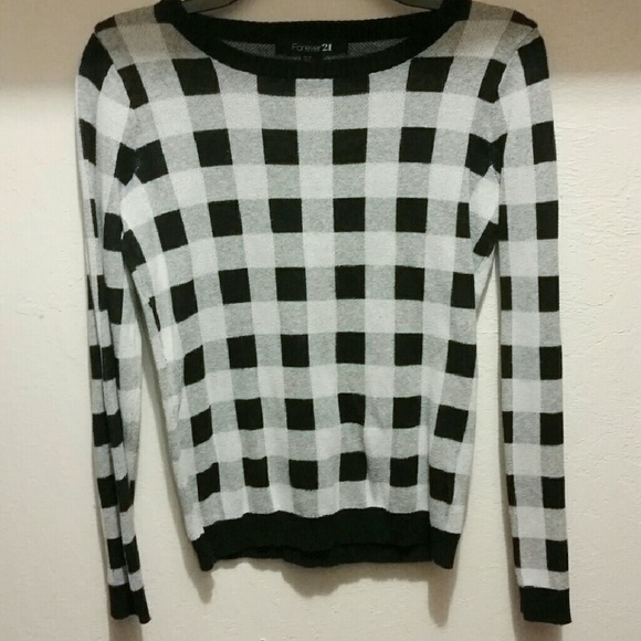 Forever 21 Sweaters Black And White Checkered Sweater Poshmark