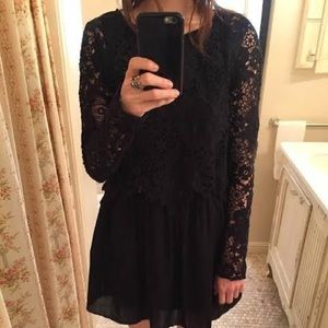 See by Chloé Lace Long Sleeve Popover Dress
