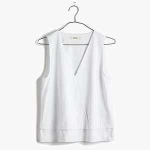 Madewell Tops - madewell white across vneck crop tank top - small