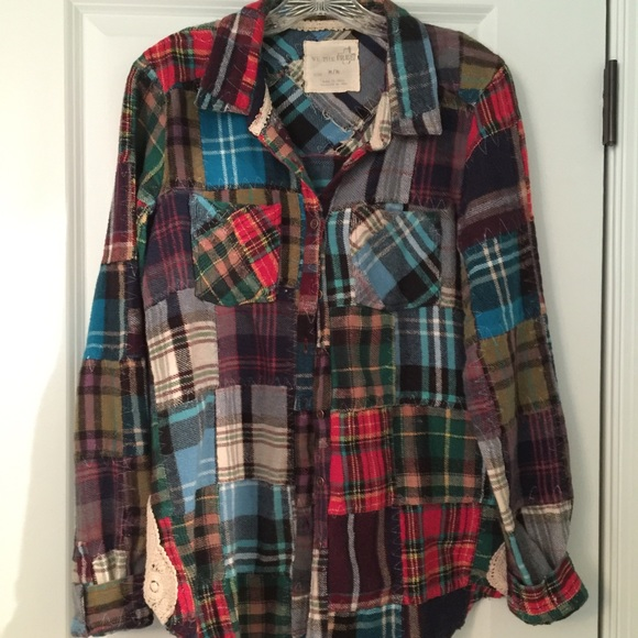 a9c0678bdf Free People Tops - Free People patchwork Lost in Plaid flannel shirt