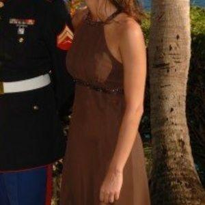 Brown chiffon beaded high neck formal dress