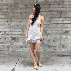 {free people} lace overlay studded dress