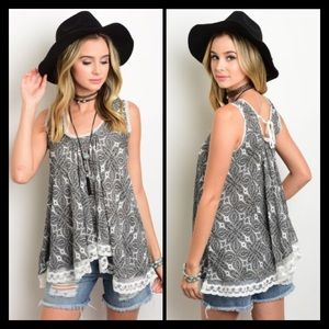 Black and White Boho Inspired Tank