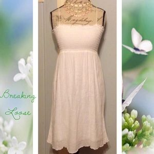 BREAKING LOOSE Classic Solid White Summer Dress