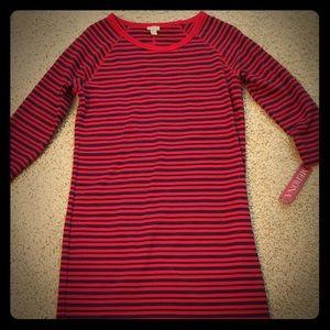 Never worn Merona cotton red/navy blue shift dress