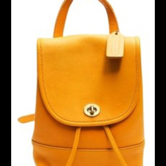 5bb20811cd Coach Bags | Vintage Antique Yellow Backpack Flash Sale | Poshmark