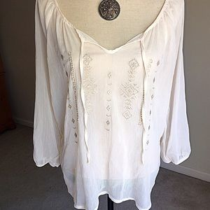 Tops - Shear Lace and Embroidered Blouse
