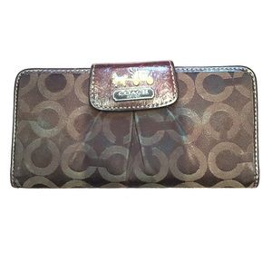 Coach Handbags - Authentic Coach Wallet - Brown with Pink interior