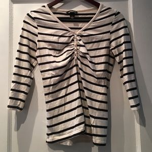 H&M Tops - H&M Navy and White Stripe Shirt