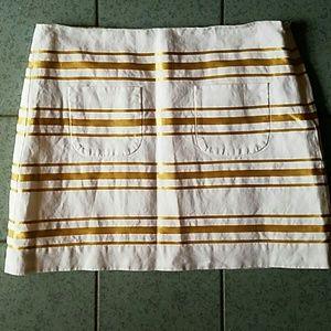 J. Crew Linen Blend white Gold Striped Mini Skirt