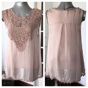 Giulia Tops - 👚 pale pink cotton and chiffon like