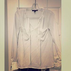 BCBG White sheer blouse/top long sleeve