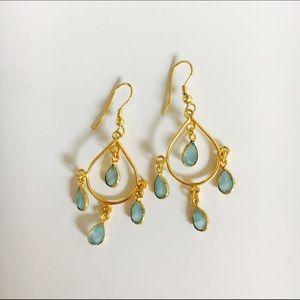 Bondhu Jewelry - Aqua Chalcedony Gold Chandelier Earrings