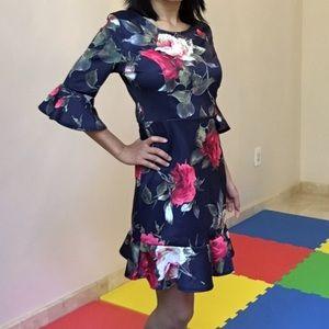 Navy floral techno dress