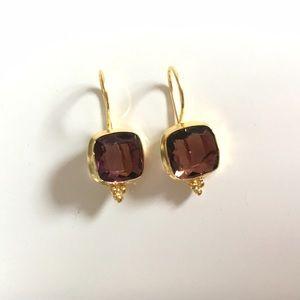 Bondhu Jewelry - Rose Quartz Gold Drop Earrings, Gold