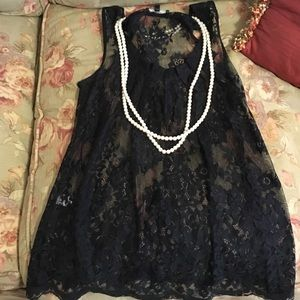 Express black lace tank top, XS