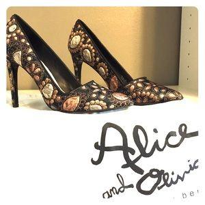 Alice & Olivia Dina Jacquard Point-Toe Pumps