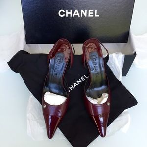 CHANEL Burgundy Leather Slingback Heels