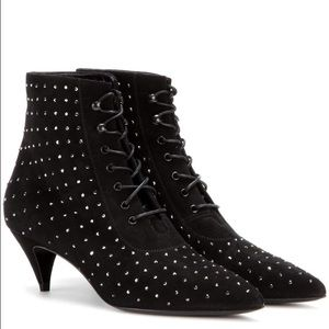 Yves Saint Laurent Shoes - Saint Laurent studded kitten heel booties. 36.