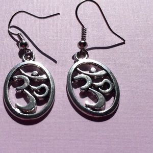 Silver Ohm Earrings  in oval setting