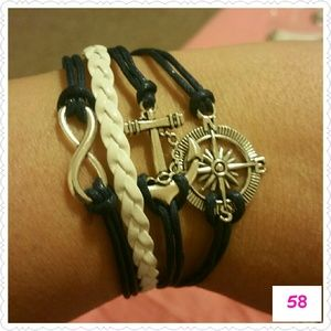 Jewelry - Infinity Anchor Compass Leather bracelet
