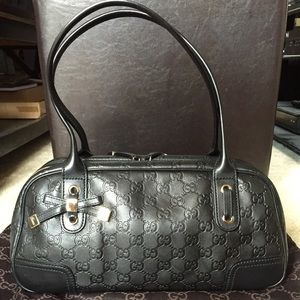 Auth Gucci Black Guccissima Boston shoulder bag